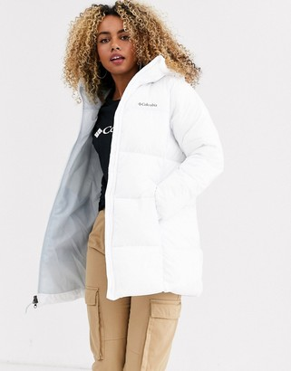 Columbia Puffect mid hooded jacket in white