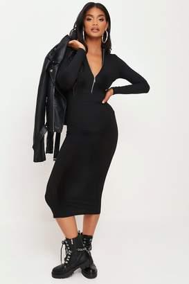 I SAW IT FIRST Black High Neck Zip Front Midi Dress