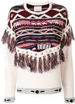 Laneus patterned jumper with tassel trim