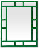 Worlds Away Bamboo Mirror - Hunter Green