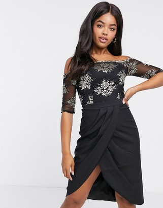 Chi Chi London contrast lace wrap skirt dress in black