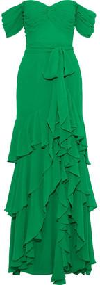 Badgley Mischka Off-the-shoulder Tiered Georgette Gown