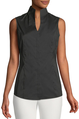 Misook Petite Sleeveless Stretch-Cotton Shirt