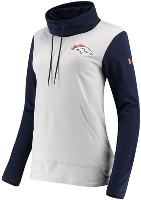Women's Under Armour Heathered Gray/Navy Denver Broncos Combine Authentic French Terry Cowl Neck Hoodie