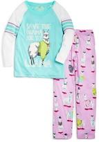 PJ Salvage Girls' Llama Drama Jersey Pajamas - Sizes 4-6