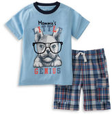 Kids Headquarters Boys 2-7 Two-Piece Dog Graphic Tee & Plaid Cargo Shorts Set