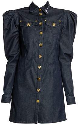 Versace Denim Puff-Sleeve Shirtdress
