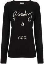 Bella Freud Black Wool Ginsberg Is God Jumper