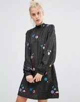 Lazy Oaf High Neck Swing Dress In Sparkly Space