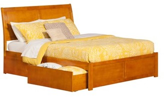 Atlantic Furniture Portland Platform Bed with Flat Panel Foot Board and 2 Urban Bed Drawers in, Multiple Colors and Sizes