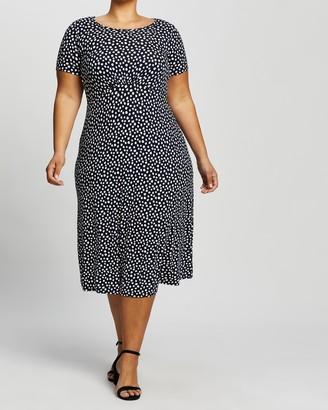 Dp Curve Empire Seam Spot Midi Dress