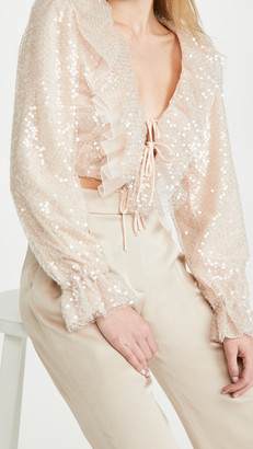 Rodarte Pale Pink Sequin Cropped Blouse With Ruffle