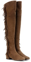Saint Laurent BB 20 fringed suede over-the-knee boots