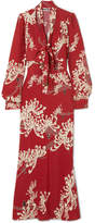 McQ Pussy-bow Printed Crepe Maxi Dress - Red