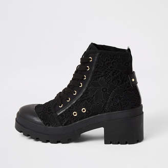 River Island Black lace chunky ankle boots