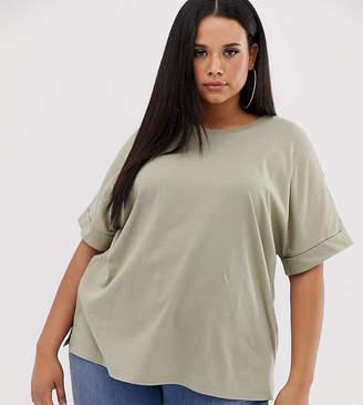 Asos DESIGN Curve oversized boyfriend t-shirt with roll sleeve in khaki-Green