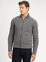 Michael Kors Reversible Full-Zip Fur Sweater