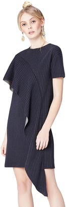 Private Label Amazon Brand - find. Women's Dress with Pinstripe Ruffle Drape and Striped