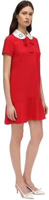 RED Valentino Crepe Mini Dress W/ Eyelet Lace Collar