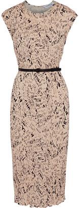 Max Mara Rino Belted Printed Plisse-satin Midi Dress