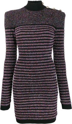 Balmain Metallic Striped Knitted Dress