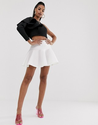 True Violet pleat mini skirt in ivory