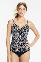 Classic Women's Shaping Surplice Tankini Top-Black
