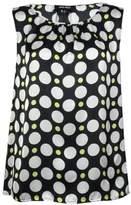 Nine West Women's Polka Dot Blouse (XL, Lemon/Ivory Multi)