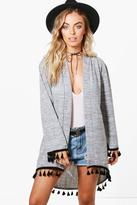 boohoo Leah Tassel Trim Knitted Kimono Cardigan grey