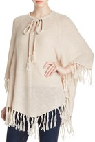 Design History Fringed Tie Neck Poncho