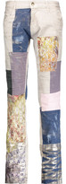 Just Cavalli Low-Rise Metallic Patchwork Straight-Leg Jeans