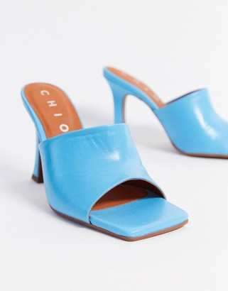 CHIO heeled leather mules with square toe in aqua blue leather
