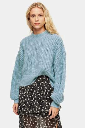 Topshop Womens Tall Pale Blue Banana Sleeve Cropped Jumper - Pale Blue