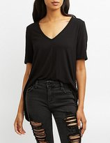 Charlotte Russe Lace-Up Back Tee
