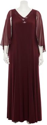 Le Bos Plus Size Capelet-Sleeve Velvet Maxi Dress