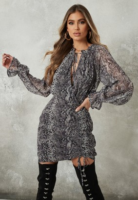 Missguided Grey Snake Print High Neck Ruched Mini Dress