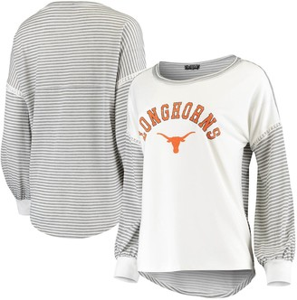 Women's White Texas Longhorns Line It Up Striped Bubble Long Sleeve T-Shirt