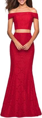 La Femme Stretch Lace Two-Piece Trumpet Gown