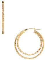 Lord & Taylor Double Circle Gold Hoop Earrings- 1.22in