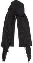 Rag & Bone Kelsey Fringed Merino Wool And Alpaca-blend Scarf - Black