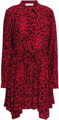 Robert Rodriguez Leopard-print Silk Crepe De Chine Mini Dress