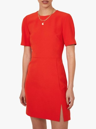 Warehouse Short Sleeve Crepe Mini Dress, Bright Red