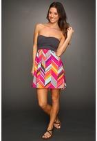 Roxy Savage Tube Dress (Juniors) (Fuchsia Print) - Apparel