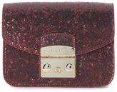 Furla Metropolis Mini Shoulder Bag In Red Rubin Glitter Fabric