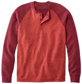 L.L. Bean L.L.Bean Men's Washed Cotton Double-Knit Henley, Long-Sleeve, Colorblock