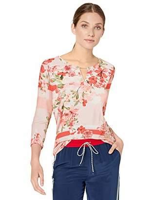 Calvin Klein Women's 3/4 Sleeve Printed Top with Pearl Detail