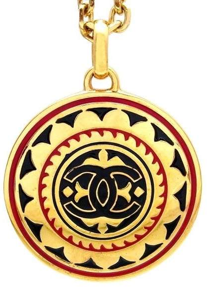 Chanel CC Logo Gold Tone Metal Pendant Necklace CC Logo