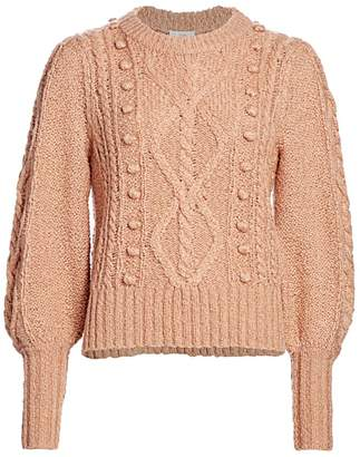Joie Bia Cable-Knit Puff-Sleeve Sweater