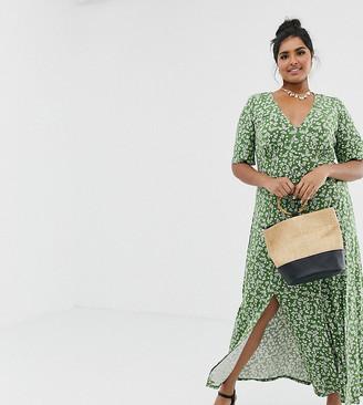 Asos DESIGN Curve button through maxi tea dress with splits in ditsy print-Green