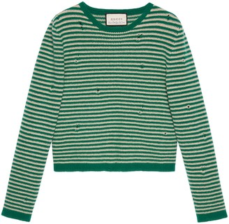 Gucci Striped wool crop jumper